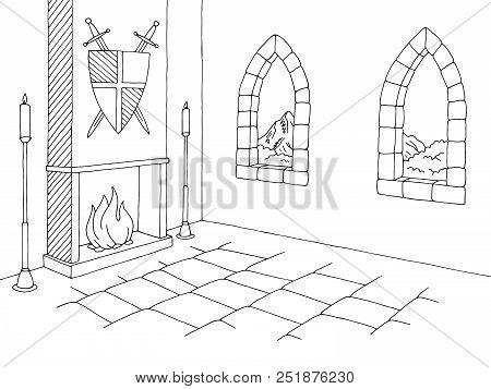 Castle Interior Graphic Black White Medieval Sketch Illustration Vector