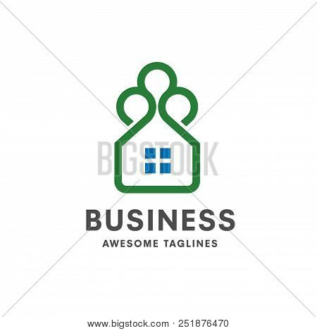 Simple Green House Logo,green House Logo. Eco House. Green House Vector.green Thin Line House Logo
