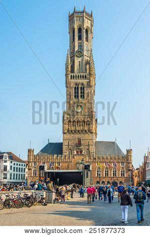 Bruges,belgium - May 20,2018 - Belfry At The Grote Markt In Bruges. The Historic City Centre Of Brug