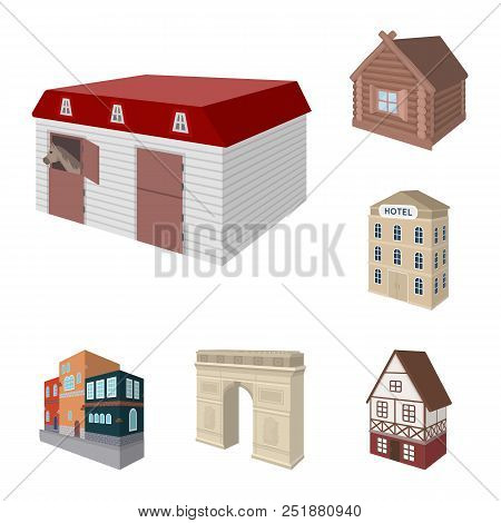 Building And Architecture Cartoon Icons In Set Collection For Design.the Building And Dwelling Vecto