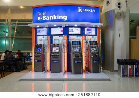 Surabaya, Indonesia - July 19, 2018: E-banking For Tourist At Departure Hall Of Juanda Airport Termi