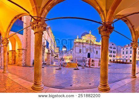Stradun In Dubrovnik Arches And Landmarks Panoramic View At Dawn, Dalmatia Region Of Croatia