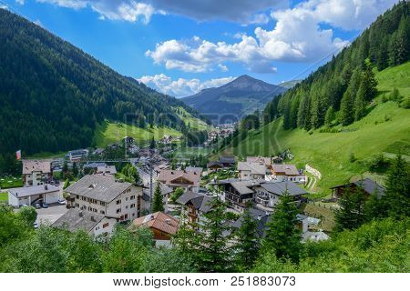 Village On Gardena Valley In The Dolomites