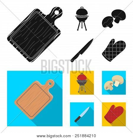 Barbeque Grill, Champignons, Knife, Barbecue Mitten.bbq Set Collection Icons In Black, Flat Style Ve