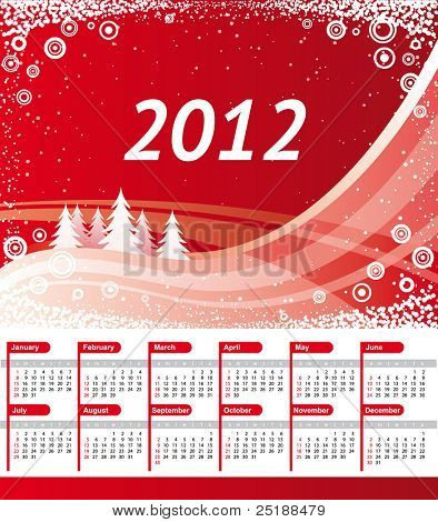 2012 Calendar. Vector red landscape background with christmas trees, waves and snowflakes