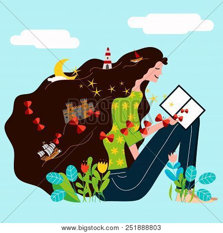 A Girl Read A Book And His Imagination And Fantasy Create A Magic World - Vector Illustration For We
