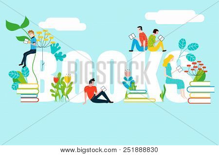 Happy People Reading On Book Text - Vector Colorful Illustration Isolated On Background