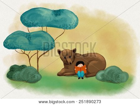 A Boy Reading With Cute Bear In Green Woodland And Imagining Fantastic Story And Dream - Digital Pai