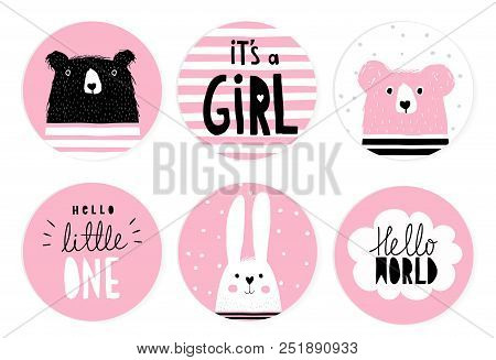 Hand Drawn Candy Bar Baby Shower Vector Tag Set. Pink And White Circle Shape Tags. Black Hand Writte