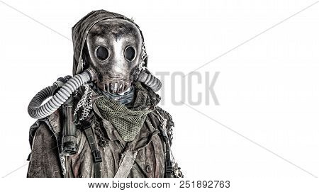 Scary Post Apocalyptic, Living Underground, Creature With Vintage Lantern On Shoulder, Wearing Rags