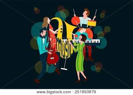 Series Of Music Concert Composition With Men And Women Singing And Playing Sax, Electric Guitar, Pia