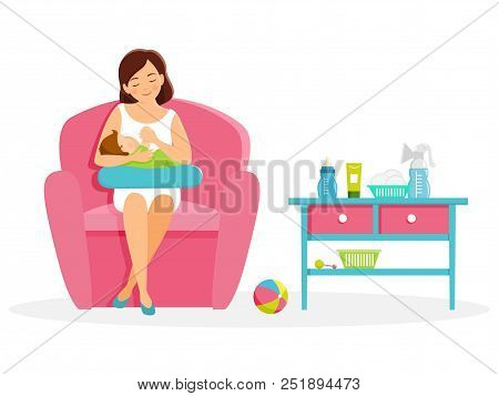 Mother Feeds Her Baby. Mom And Baby. Breastfeeding.vector Illustration. Isolated On White Background