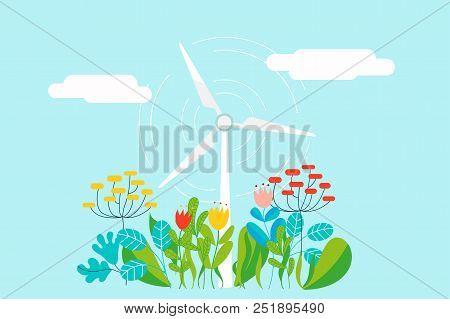 Electric Wind Mill In Natural Background With Plants, Flowers And Leaves - Conceptual Vector Illustr