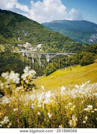 Old big bridge Durdevica. View on Tara river gorge - is the biggest one canyon in Europe. Location park Durmitor, Montenegro, Balkans. Scenic image of popular travel destination. Beauty of earth.
