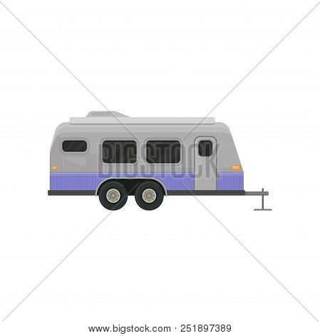 Classic Camper Trailer For Family Journey. Home On Wheels. Vehicle For Comfort Travel. Graphic Eleme