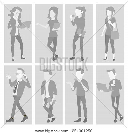 Placeholder Avatar Set Vector. Profile Gray Picture. Full Length Portrait. Male, Female Default Photo. Businessman, Business Woman. Human Web Photo. No Image. Isolated Illustration poster