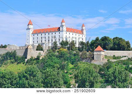 Bratislava, Slovakia. View Of Bratislava Castle In A Sunny Summer Day