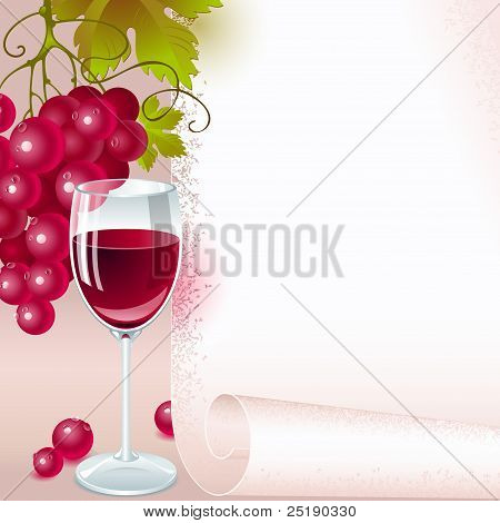 red grapes and glass of wine
