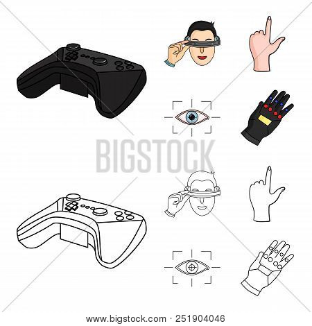 Virtual, Reality, Helmet, Computer, Technology, .virtual Reality Set Collection Icons In Cartoon, Ou