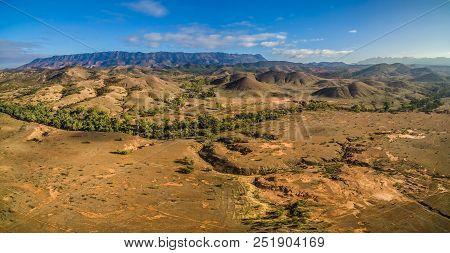 Aerial Panorama Of Flinders Ranges Mountain Range In South Australia