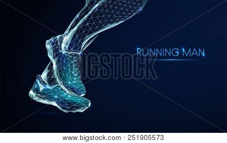 Feet Of Running Man. Low Poly Style Design. Abstract Geometric Background. Wireframe Light Connectio