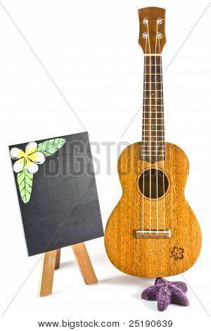 Image blackboard and vintage ukulele on white poster