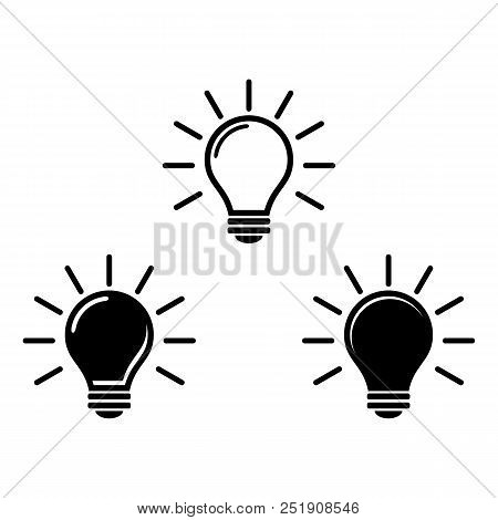Light Bulb Icon Isolated On White. Vector Icon. Light Bulb Sign In Style. Lighting Lamp In Black