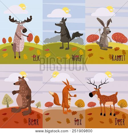 Set Cards Woodland Animals And Cute Forest Design Elements