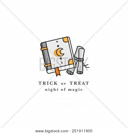 Vector Illuatration Spell Book. Happy Halloween Party Celebration. Grimoire. Badge On White Backgrou