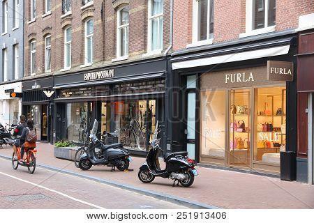 Amsterdam, Netherlands - July 10, 2017: People Visit P.c. Hooftstraat In Amsterdam. Pieter Cornelis