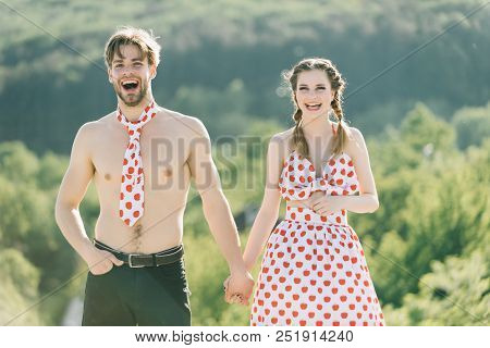 Love Concept. Couple In Love. Happy Love Couple Smile On Summer Nature. All Of Me Love All Of You