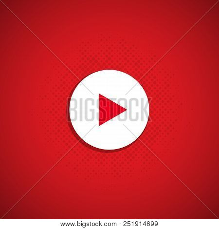 The Play Button On A Red Background. Vector Illustrator. Eps10.