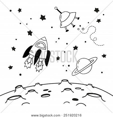 Space Flying Objects Above The Moon. Doodles Of A Spaceship, Saturn And A Flying Saucer Above The Cr