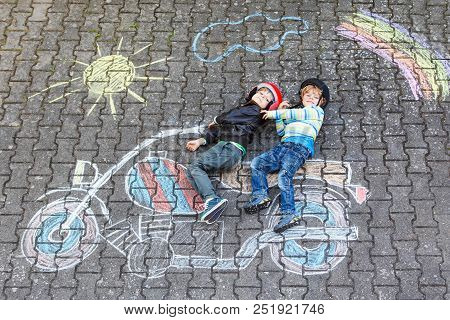 Creative Leisure For Children: Two Little Funny Friends In Helmet Having Fun With Motorcycle Picture