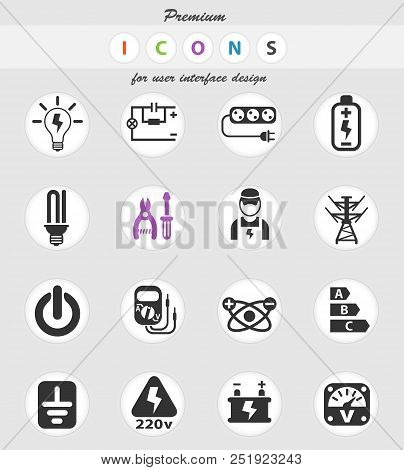 Electricity Web Icons For User Interface Design