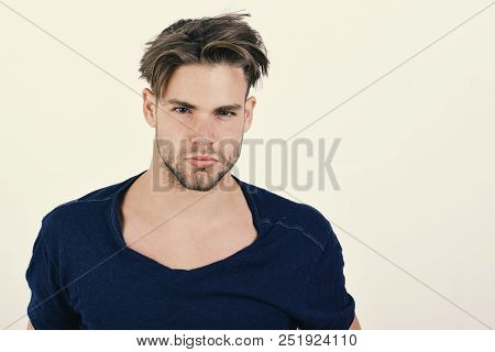 Man With Fair Hair On White Background. Macho With Confident Face And Bristle. Masculinity And Confi