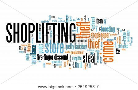 Shoplifting - Retail Industry Crime Problem. Word Cloud Sign.