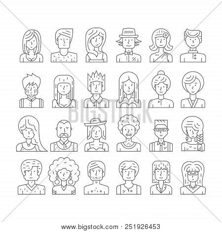 Collection Of Linear Style People Icons Made In Vector. Modern Avatars With Different Characters. Hi