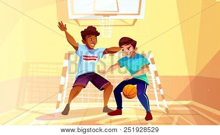 Boys Playing Basketball Vector Illustration Of Black Afro American Teen Or Young Man With Ball In Co