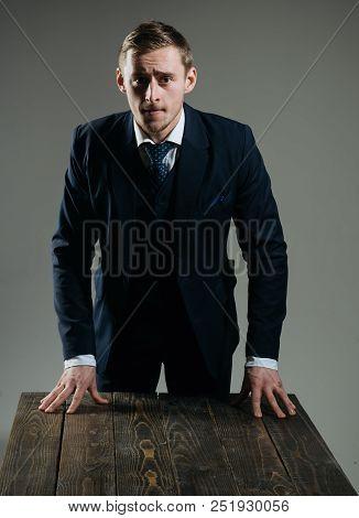Leadership Concept. Man Businessman In Formal Suit, Leadership In Business. Leadership Style. Leader