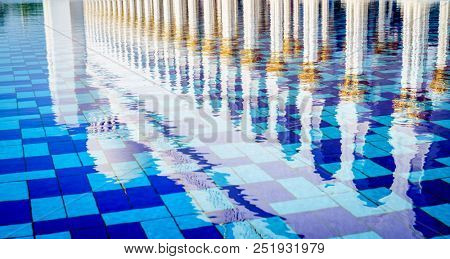 Reflection pool in Sheikh Zayed Grand Mosque in Abu Dhabi, UAE