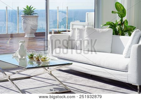 Interior Of The Living Room Of The Hotel. Beautiful Living Room With White Sofa. White Concept Livin