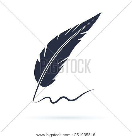 Old Calligraphy Vector Icon Illustration Isolated On White Background. Writing With Old Quill Pen. H