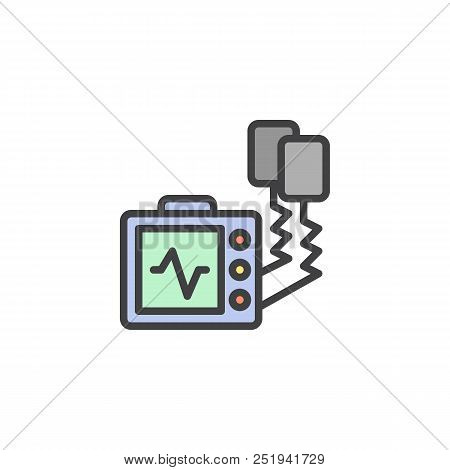 Defibrillator Machine Filled Outline Icon, Line Vector Sign, Linear Colorful Pictogram Isolated On W