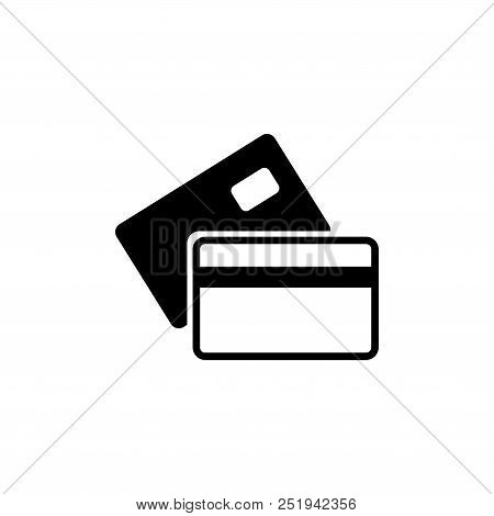 Banking Credit Card. Flat Vector Icon Illustration. Simple Black Symbol On White Background. Banking