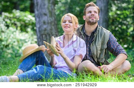 Couple Soulmates At Romantic Date. Romantic Couple Students Enjoy Leisure With Poetry Nature Backgro