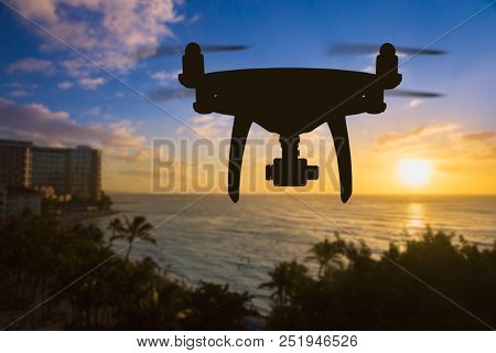 Back of Unmanned Aircraft System (UAV) Quadcopter Drone Isolated on White. poster