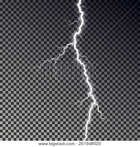 Lightning Bolt Isolated On Dark Checkered Background. Transparent Thunderbolt Flah Effect. Realistic