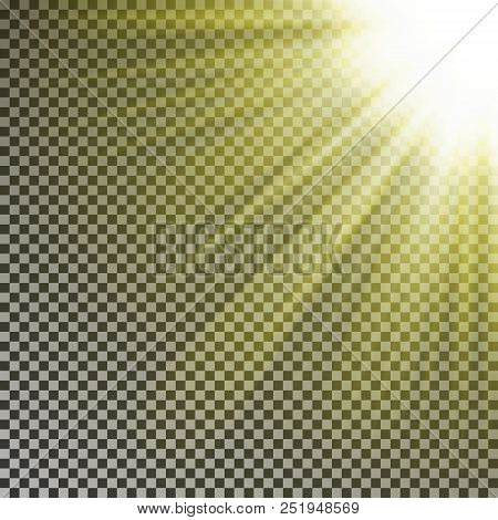 Sun Ray Light On Top Rigth Corner. Transparent Glow Yellow Sunlight Effect Isolated On Checkered Bac