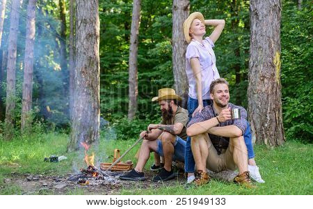 Company Friends Enjoy Relaxing Together Forest. Company Most Important Thing Organizing Vacation. Aw